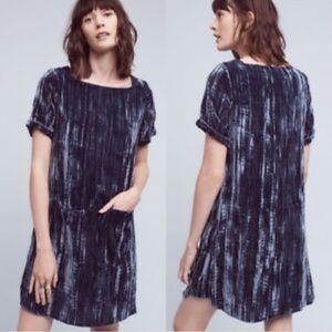 Floreat blue crushed velvet mini shift dress